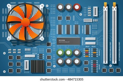 Top down view of a motherboard. Vector illustration of a chip board with microchips, semiconductor tracks, capacitors and ports. Big red fan cooling the CPU.