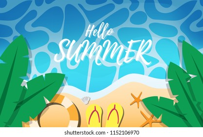 """Top down view of summer tropical beach with life ring,banan tree leaves,starfishes and beach slipper with some wave and copy space for text""""Hello Summer""""on the sea surface for summer wallpaper"""