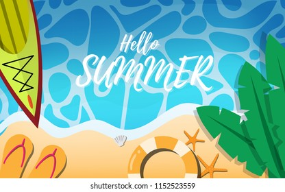 """Top down view of summer tropical beach with canoe in sea,life ring,banan tree leaves,starfishes and beach slipper with some wave and copy space for text""""Hello Summer"""""""