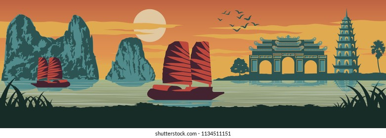 top famous landmark of Vietnam,Ship,Ha long bay,Emperor palace complex in Hue and Tran Quoc pagoda in sunset time,silhouette design,Vintage color,vector illustration