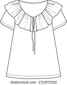 TOP fashion flat sketch template. Ruffled and tie detail top