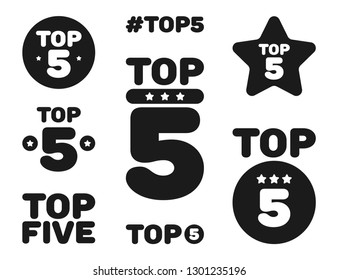 Top five 5 black and white icon set. Vector illustration.