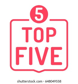 Top five with number 5. Badge icon. Flat vector illustration on white background.