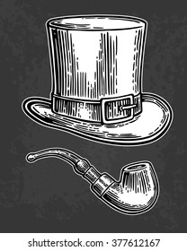Top gentleman hat and smoking pipe. Engraving vintage vector white illustration. Isolated on black background. Hand drawn design element for label and poster