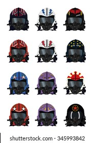 Top gun fighter pilots helmet designs with call signs. vector set
