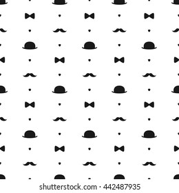 Top Hat, Bow Tie and Moustache Seamless Pattern