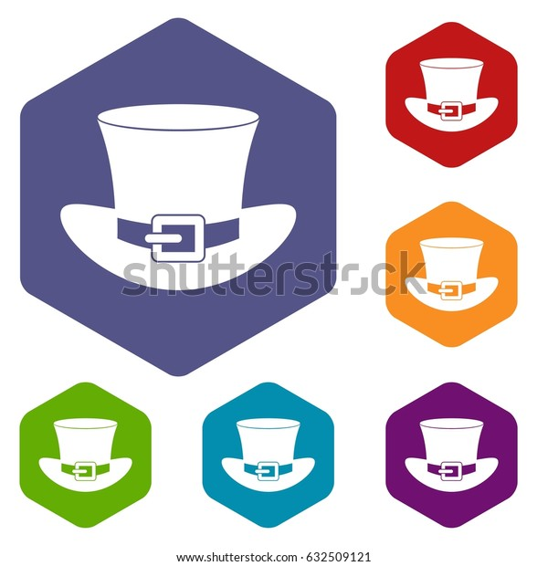 Top hat with buckle icons set hexagon isolated vector illustration
