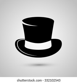 Top hat icon isolated on white background. Vector art.