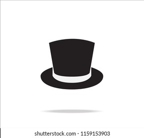 Top hat icon vector on white background
