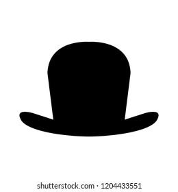 top hat icon, vector top hat silhouette, retro fashion hat
