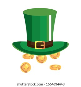 top hat leprechaun with coins isolated icon vector illustration designicon