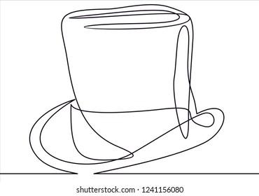 Top Hat Line -continuous line vector