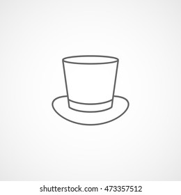 Top Hat Line Icon On White Background
