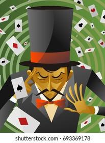 top hat magician poker cards magic trick