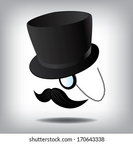 Top Hat, mustache and monocle. EPS 10 vector, grouped for easy editing. No open shapes or paths.