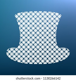 Top hat sign. Vector. White textured icon at lapis lazuli gradient background.