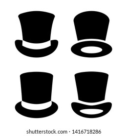 Top hat vector icon set on white background