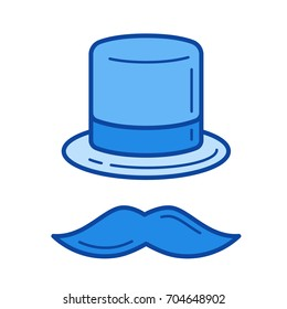 Top hat vector line icon isolated on white background. Top hat line icon for infographic, website or app. Blue icon designed on a grid system.