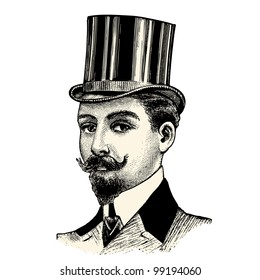Top hat - vintage engraved illustration - Catalog of a French department store - Paris 1909