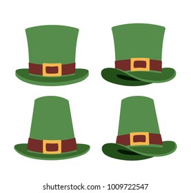 top hats set in colorful silhouette over white background
