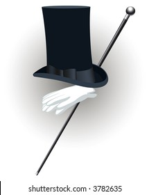Top hat,white gloves and silver top cane