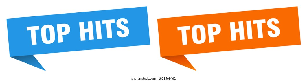 top hits banner sign. top hits speech bubble label set