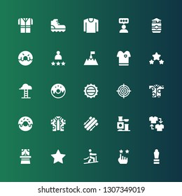 top icon set. Collection of 25 filled top icons included Award, Rate, Climbing, Magician hat, Shirt, Toy, Skii, Donut, Goal, Bottle cap, Goals, Tshirt, Rating, Beer can