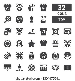 top icon set. Collection of 32 filled top icons included Goal, Award, Rate, Quality, Rating, Donut, Hoodie, Beer can, Drone, Skii, Magician hat, Tshirt, Bottle cap, Climbing, Favorite