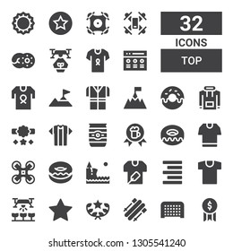 top icon set. Collection of 32 filled top icons included Award, Goal, Skii, Rate, Drone, Shirt, Align right, Cliff, Donut, Tshirt, Beer can, Reward, Hoodie, Climbing, Bottle cap