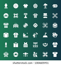 top icon set. Collection of 36 filled top icons included Shirt, Drone, Toy, Reward, Donut, Award, Rate, Goal, Conquer, Cliff, Hoodie, Skii, Tshirt, Top hat, Goals