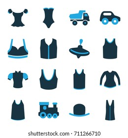 Top icons set. set of 16 top bi-color icons such as whirligig, toy car, train toy, hat, sport bra, singlet, blouse, swimsuit