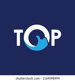 TOP initial letter with thumb logo icon vector template