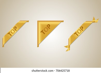 TOP - Luxury golden corner ribbons set. Vector design element.
