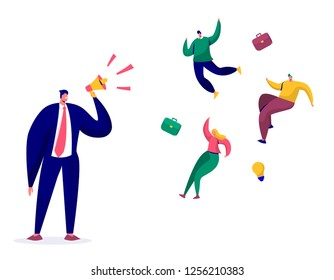 Top Manager with Loudspeaker Dismiss Employees Characters. Firing, Dismissal, Unemployment, Jobless Concept with Angry Boss Screaming and Fired Businessman. Flat Cartoon Vector Illustration