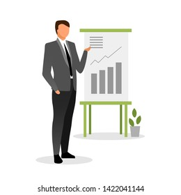 Top manager making report vector illustration. Banking system expert, finance analyst explaining growth rates. Economist providing statistical analysis, data visualization in charts, diagram bars
