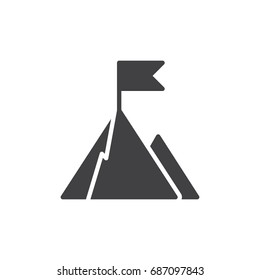 Top of mountain with flag icon vector, filled flat sign, solid pictogram isolated on white. Goal symbol, logo illustration. Pixel perfect vector graphics