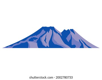Top mountain peaks vector blue logo silhouette illustration. Outdoor isolated cold snowy landscape icon element. Nature travel, climbing, camping, tourism, hiking hills poster design badge.