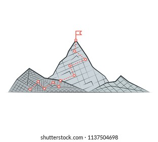 Top of the mountain with red flag. Business success concept. Vector illustration.