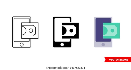 Top up payment icon of 3 types: color, black and white, outline. Isolated vector sign symbol.