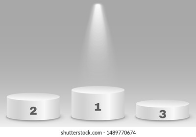 Top places. Isolated 3D empty white podium on gray background. Glowing projector. Vector illustration. EPS 10