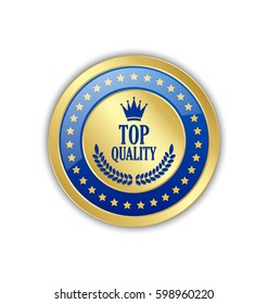 Top quality badge or icon placed on white background