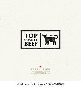 Top quality beef vintage Label. Vector beef retro logo. Ink stamp designs.