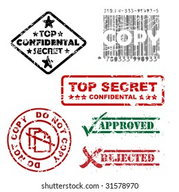 Top secret, approved, rejected, top confidental, copy stamps
