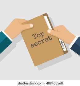 Top secret concept. Folder with classified documents, giving in hands. Deal, transmission of information, bribe, message. Vector illustration flat design.
