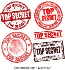 Top secret grunge stamp collection on white background, vector illustration