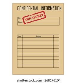 Top secret red rubber stamp on brown file folder vector, confidential information