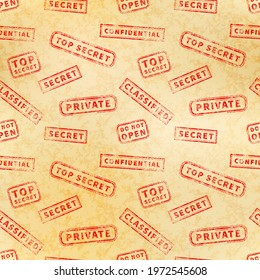 A lot of top secret red vintage grunge stamps on old yellow archive paper, seamless pattern