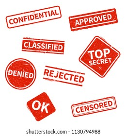 Top secret, rejected, approved, classified, confidential, denied and censored red grunge business stamps isolated on white background. Vector print vintage, imprint denied rubber stamp illustration