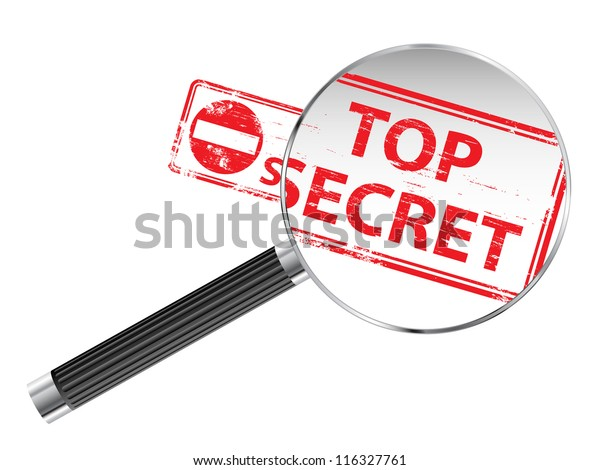 Top Secret rubber stamp under a magnifying glass