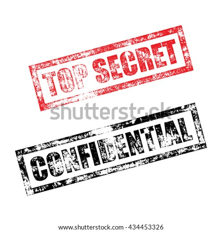 Top Secret Stamp Of Red Grunge Square Vintage Rubber Print Confidential Black File